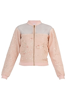 Peach embellished bomber jacket