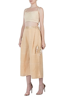 Peach embellished sheer cut tunic with gold palazzo pants by AMIT SACHDEVA