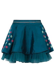 Teal circular pleated skirt