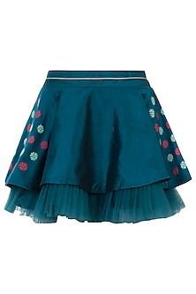 Teal circular pleated skirt