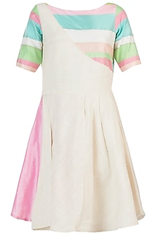 Ivory colour blocked dress by AMIT SACHDEVA