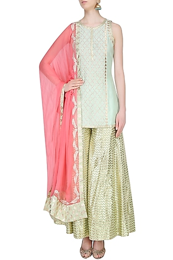Mint Green and  Pale Pink Embroidered Sharara Set by Amrita Thakur