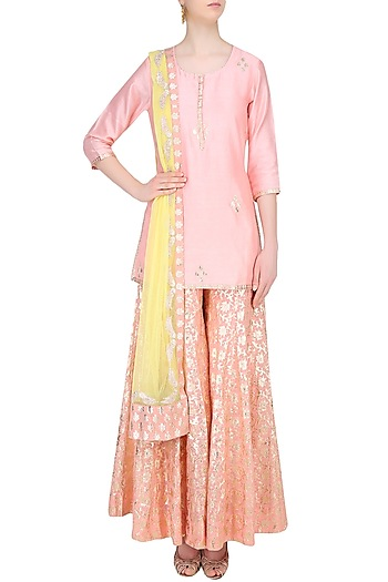Peach and  Yellow Embroidered Sharara Set by Amrita Thakur