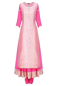 Pink and  Contrast Pale Pink Embroidered Layer Kalidaar Set