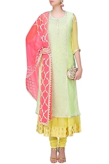 Mint Green and  Pale Yellow Embroidered Layer Kalidaar Set by Amrita Thakur