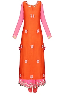 Pink and  Orange Embroidered Layer Kalidaar Set