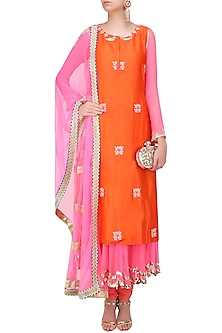 Pink and  Orange Embroidered Layer Kalidaar Set by Amrita Thakur