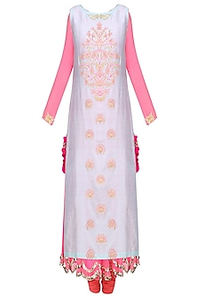 Pink and  Pale Blue Embroidered Layer Kalidaar Set by Amrita Thakur