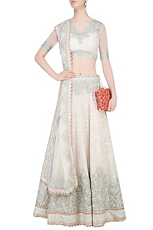 Ivory Embroidered Lehenga Set by Amrita Thakur