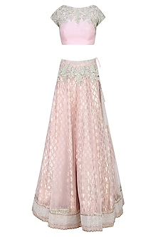 Light Pink and  Mint Green Embroidered Lehenga Set