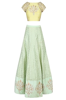 Yellow and  Mint Green Embroidered Lehenga Set