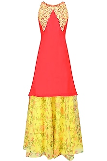 Red Resham Embroidered Kurta Set With Yellow Floral Printed Skirt