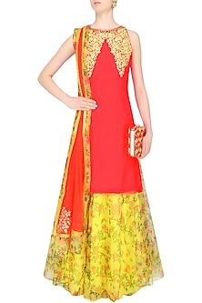 Red Resham Embroidered Kurta Set With Yellow Floral Printed Skirt by Amrita Thakur