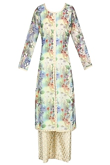 Pale Yellow Floral Printed Kurta Set With Brocade Palazzo Pants