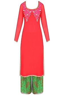 Red Resham Embroidered Kurta Set With Green Floral Printed Palazzo Pants by Amrita Thakur