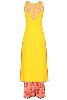 Mustard Yellow Resham Embroidered Kurta Set With Peach Floral Printed Palazzo Pants