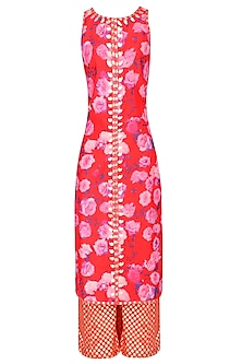 Red Rose Printed Kurta Set With Brocade Palazzo Pants
