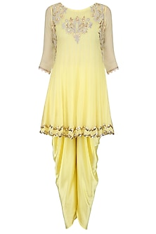 Pale Yellow Tissue Brocade Work Short Anarkali Kurta and Dhoti Pants Set by Amrita Thakur
