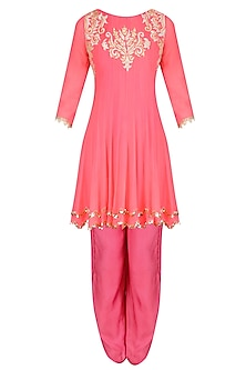 Coral Tissue Brocade Work Short Anarkali Kurta and Dhoti Pants Set