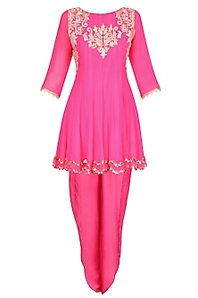 Bright Pink Tissue Brocade Work Short Anarkali Kurta and Dhoti Pants Set by Amrita Thakur