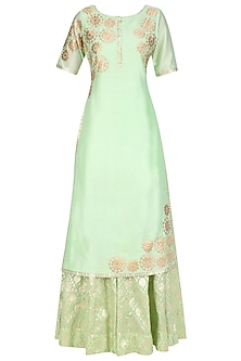 Mint Green Tissue Brocade Work Long Kurta and Sharara Pants Set by Amrita Thakur