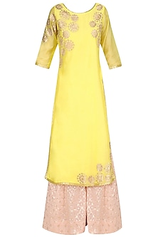 Yellow Tissue Brocade Work Long Kurta and Sharara Pants Set
