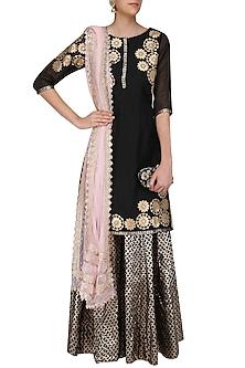 Black Tissue Brocade Work Short Kurta and Sharara Pants Set by Amrita Thakur