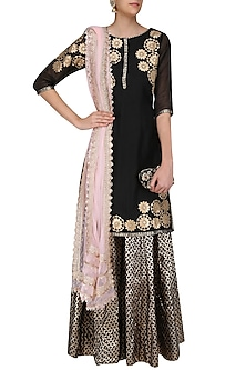 Black Tissue Brocade Work Short Kurta and Sharara Pants Set by Amrita Thakur
