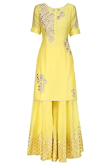 Yellow Tissue Brocade Work Short Kurta and Sharara Pants Set