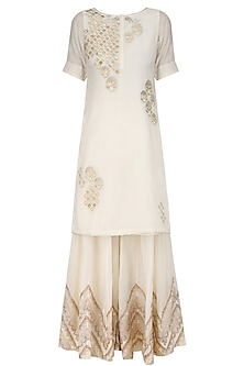 Ivory Tissue Brocade Work Short Kurta and Sharara Pants Set