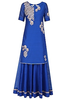 Royal Blue Tissue Brocade Work Short Kurta and Sharara Pants Set by Amrita Thakur