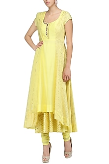 Pale Yellow Embroidered Anarkali Set by Amrita Thakur