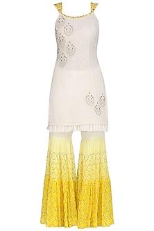 Ivory and Yellow Embroidered Kurta with Gharara Pants Set