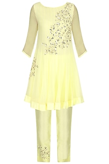 Pale Yellow Embroidered Kurta with Pants Set