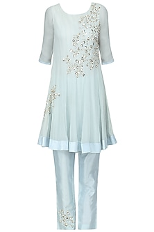 Pale Blue Embroidered Kurta with Pants Set