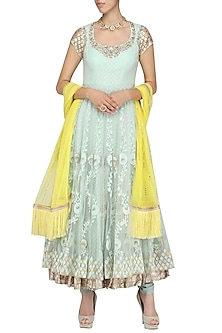 Green and Yellow Embroidered Anarkali Set by Amrita Thakur