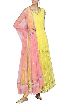 Yellow and Pink Embroidered Anarkali Set by Amrita Thakur