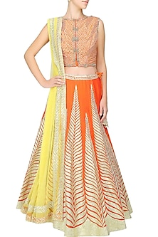 Orange gota patti embroidered lehenga set by Amrita Thakur