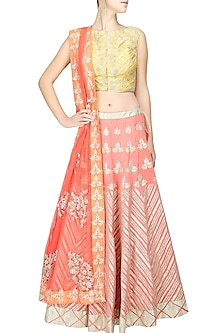Peach gota patti work lehenga and pale yellow blouse set by Amrita Thakur