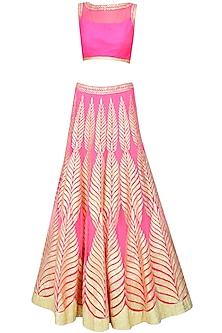 Bright pink gota patti embroidered lehenga set