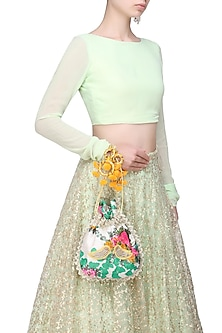 Ivory, Turquoise And Yellow Floral And Bird Embroidered Polti Bag by Amrita Thakur