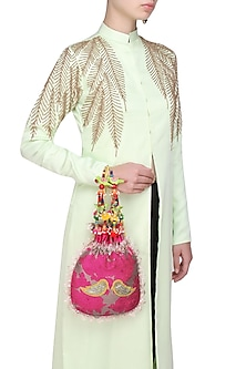 Hot Pink And Yellow Floral And Bird Embroidered Polti Bag by Amrita Thakur