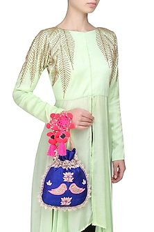 Royal Blue And Pink Floral And Bird Embroidered Polti Bag by Amrita Thakur