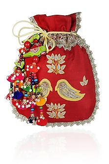 Red And Yellow Floral And Bird Embroidered Polti Bag by Amrita Thakur