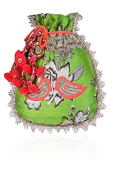 Green, Ivory And Orange Floral And Bird Embroidered Polti Bag by Amrita Thakur
