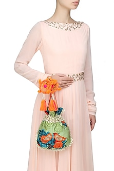 Khaki Green, Orange And Blue Floral And Bird Embroidered Polti Bag by Amrita Thakur