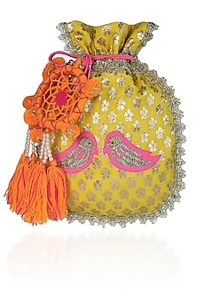 Yellow And Pink Floral And Bird Embroidered Chanderi Brocade Polti Bag by Amrita Thakur