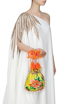 Yellow, Green And Orange Floral And Bird Embroidered Polti Bag by Amrita Thakur