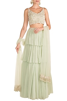 Mint Green Embroidered Lehenga Set by Aneesh Agarwaal
