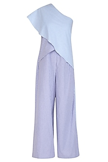 Blue & Purple Striped One Shoulder Jumpsuit by Aruni